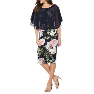 Connected Apparel Sleeveless Popover Floral Sheath Dress