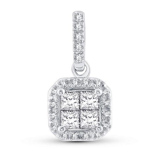 Womens 1/4 CT. T.W. Genuine White Diamond 10K White Gold Pendant Necklace