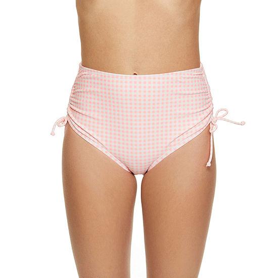 Arizona Gingham High Waist Swimsuit Bottom-Juniors