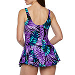 Azul by Maxine of Hollywood Leaf Swim Dress One Piece Swimsuit