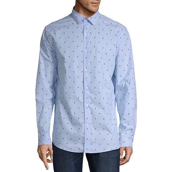 Claiborne Mens Long Sleeve Button- Front Shirt Slim