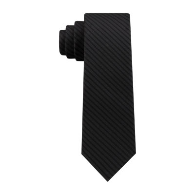JF J.Ferrar Subltle Stripe Solid Tie With Tie Bar