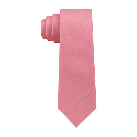 JF J.Ferrar Subltle Stripe Solid Tie With Tie Bar