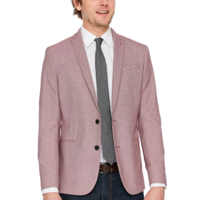 JF J.Ferrar Red Birdseye Slim Fit Sport Coat