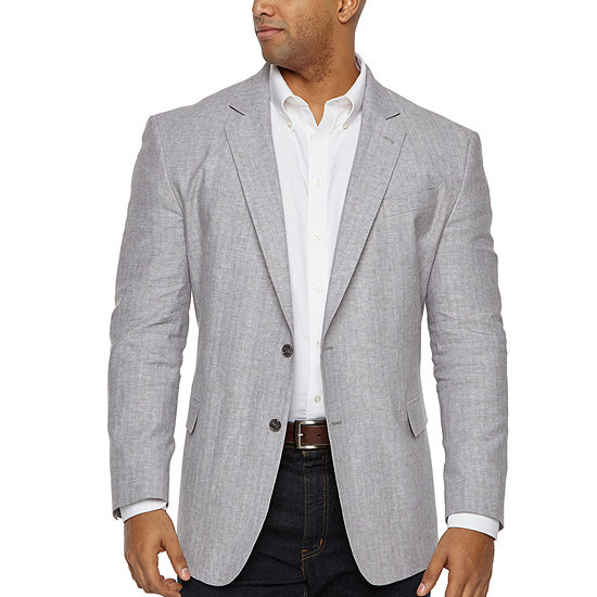 Stafford Linen Cotton Herringbone Classic Fit Sport Coat - Big and Tall