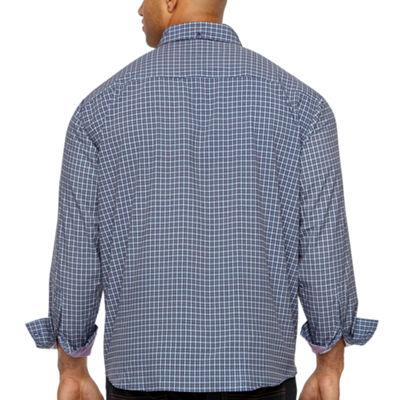 Society Of Threads 4 Way Stretch Long Sleeve Plaid Button-Down Shirt-Big and Tall