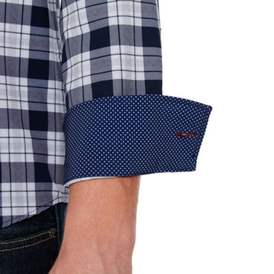 Society Of Threads 4 Way Stretch Long Sleeve Checked Button-Down Shirt