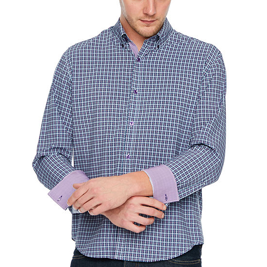Society Of Threads 4 Way Stretch Long Sleeve Plaid Button Down Shirt