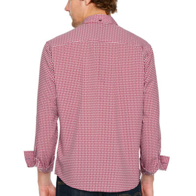 Society Of Threads 4 Way Stretch Long Sleeve Gingham Button-Down Shirt