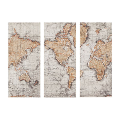 Madison Park Map Of The World Printed Canvas With 30% Hand Brush Embellishment 3-pc. Canvas Art
