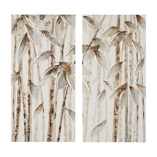 Madison Park Bamboo Forest Printed Canvas With 30% Hand Brush Embellishment 2-pc. Canvas Art