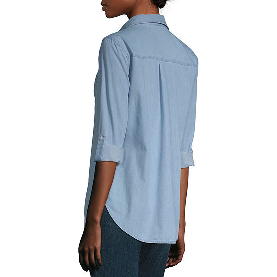 a.n.a Womens Long Sleeve Regular Fit Button-Down Shirt