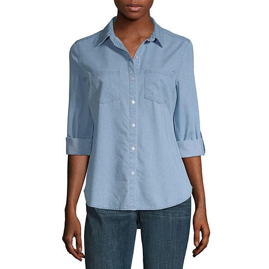 a.n.a.-Petite Womens Long Sleeve Regular Fit Button-Down Shirt