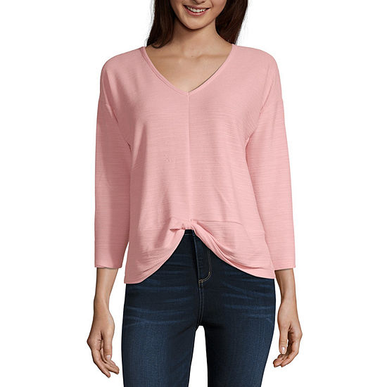 a.n.a-Womens V Neck 3/4th Sleeve T-Shirt
