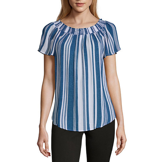 194565910af27 Liz Claiborne Womens Round Neck Short Sleeve Blouse - JCPenney