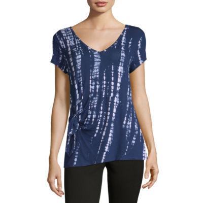 Liz Claiborne Ibiza Waves-Womens V Neck Short Sleeve T-Shirt