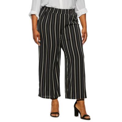 Alyx Womens Wide Leg Stripe Ankle Pant-Plus