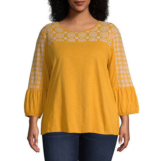 St. John's Bay Eyelet Yoke Blouse - Plus