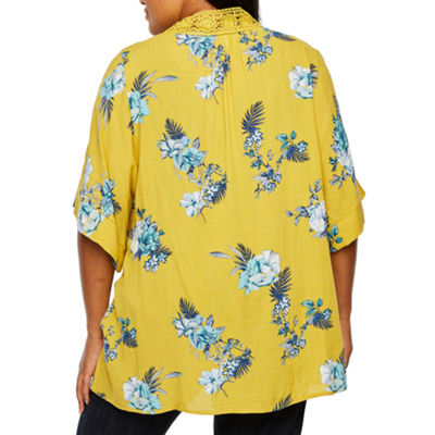 Truself 3/4 Sleeve Floral Kimono with Necklace - Plus