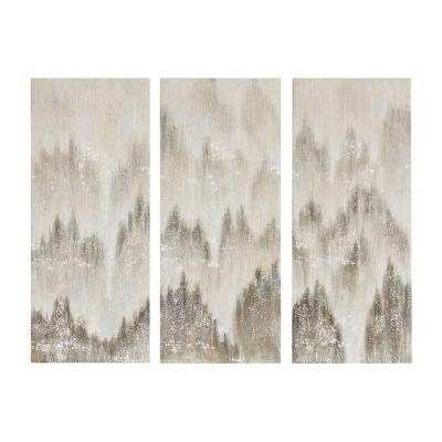 Madison Park Sterling Mist 100% Hand Brush Embellished 3-pc. Canvas Art