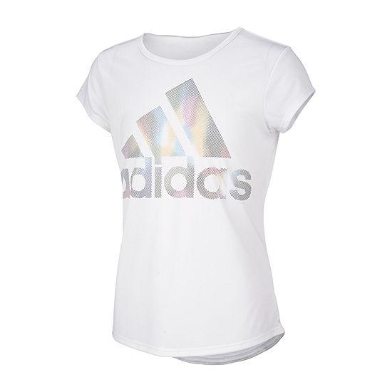 adidas Little Girls Round Neck Short Sleeve Graphic T-Shirt