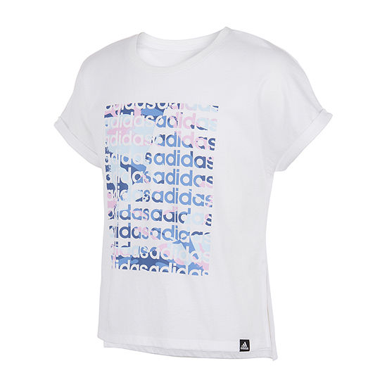 adidas Big Girls Crew Neck Short Sleeve Graphic T-Shirt