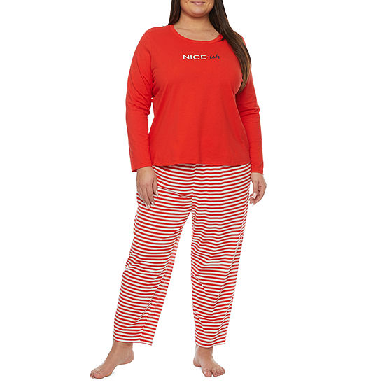 Sleep Chic Womens Long Sleeve Pant Pajama Set 2-pc.