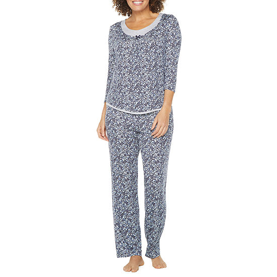Rene Rofe Womens 3/4 Sleeve Pant Pajama Set 2-pc.