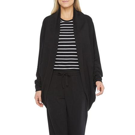 Ambrielle Womens Fleece Long Sleeve Short Length Kimono Robes, X-large , Black