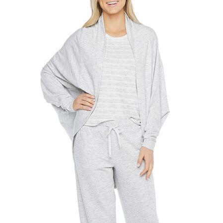 Ambrielle Womens Fleece Long Sleeve Short Length Kimono Robes, Medium , Brown
