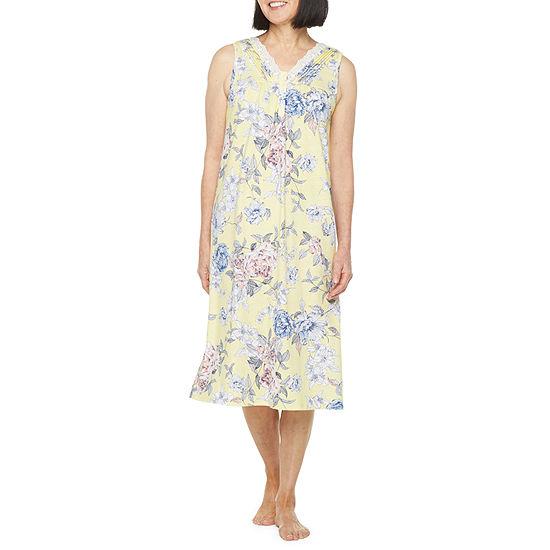 Adonna Womens Petite Sleeveless V Neck Nightgown