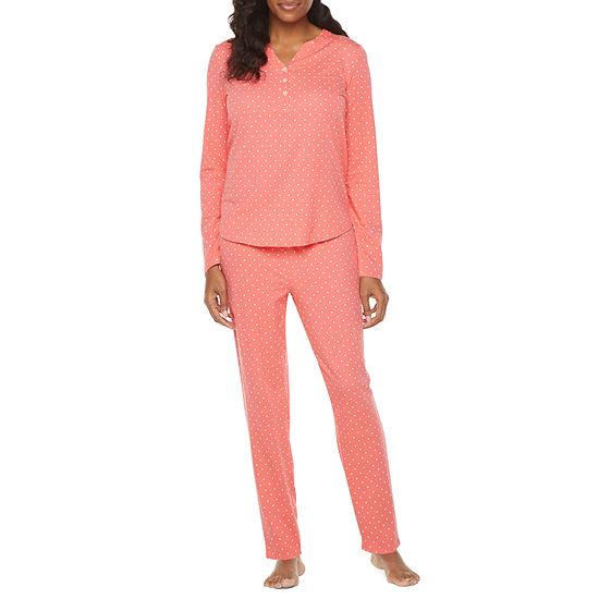 Liz Claiborne Womens-Petite 2-pc. Long Sleeve Pant Pajama Set