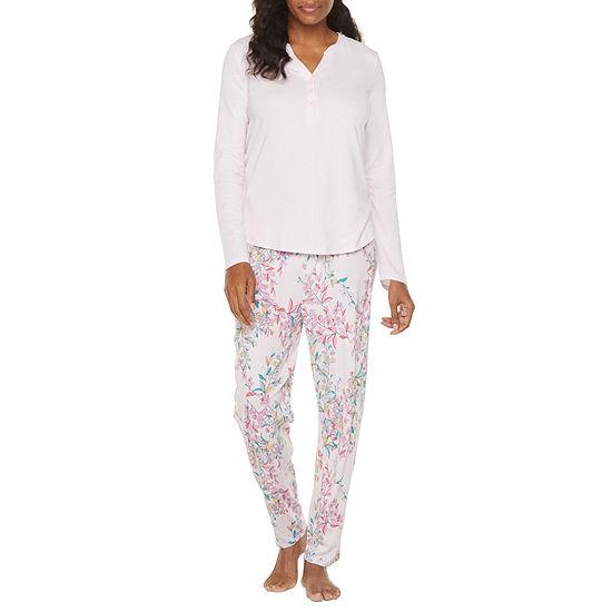 Liz Claiborne Womens-Tall 2-pc. Long Sleeve Pant Pajama Set