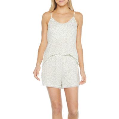 Ambrielle Womens Elbow Sleeve Shorts Pajama Set 2-pc.