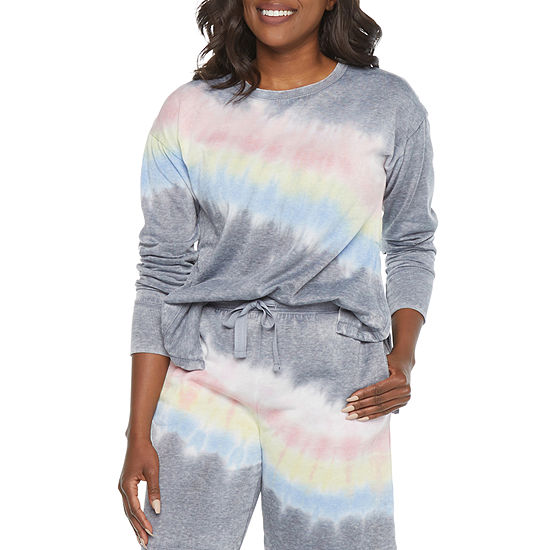 Jaclyn Womens Knit Pajama Top Fitted Sleeve Crew Neck
