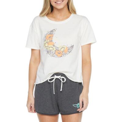 Juniors Womens Crew Neck Short Sleeve Graphic T-Shirt