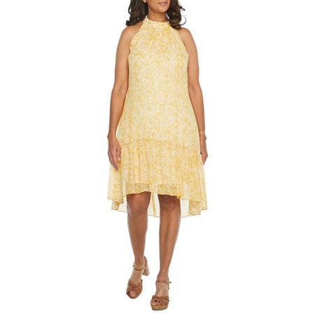 Robbie Bee Sleeveless High-Low Shift Dress, 12 , Yellow