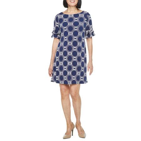 60s Dresses   1960s Dresses Mod, Mini, Hippie Ronni Nicole Short Sleeve Circle Puff Print Shift Dress 10  Blue $29.99 AT vintagedancer.com