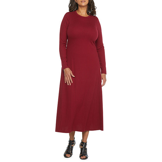 London Times Long Sleeve Midi Fit & Flare Dress