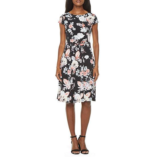 Studio 1 Short Sleeve Floral Puff Print Fit & Flare Dress