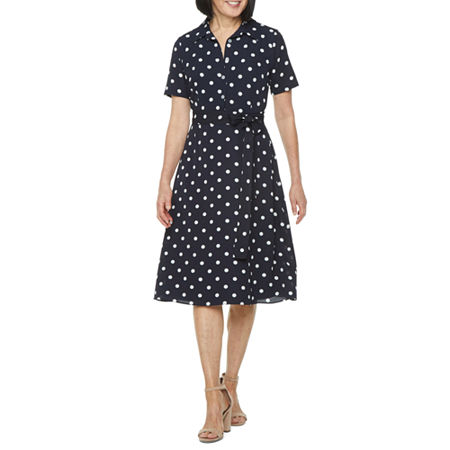1940s Dress Styles Studio 1 Short Sleeve Polka Dot Shirt Dress 12  Blue $55.50 AT vintagedancer.com