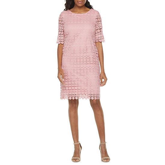 Studio 1 Short Sleeve Lace Sheath Dress