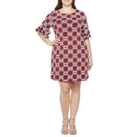 60s Dresses | 1960s Dresses Mod, Mini, Hippie Ronni Nicole-Plus Short Sleeve Puff Circle Print Shift Dress 18w  Red $59.25 AT vintagedancer.com