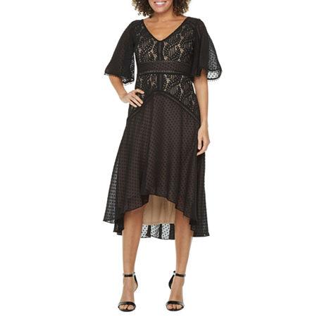 1920s Style Dresses, 20s Dresses J Taylor Short Sleeve High-Low Fit  Flare Dress 12  Black $62.30 AT vintagedancer.com