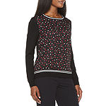 Liz Claiborne Womens Crew Neck Long Sleeve Hearts Pullover Sweater
