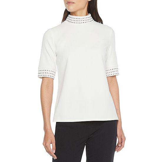 Worthington Womens Mock Neck Short Sleeve T-Shirt