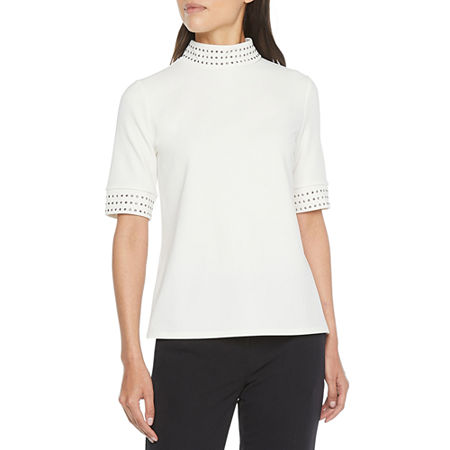 Worthington Womens Mock Neck Short Sleeve T-Shirt, Small , White