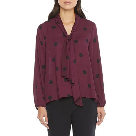 60s Shirts, T-shirts, Blouses, Hippie Shirts Worthington Womens V Neck Long Sleeve Blouse Large  Red $13.19 AT vintagedancer.com