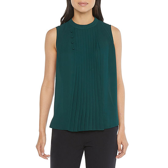Worthington Womens High Neck Sleeveless Blouse