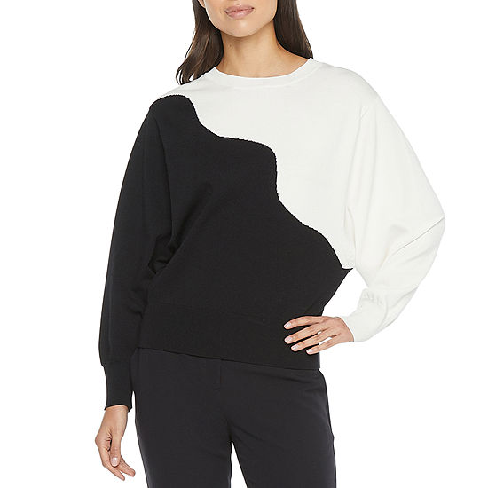 Worthington Womens Crew Neck Long Sleeve Abstract Pullover Sweater